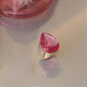 Anel cristal rosa cereja
