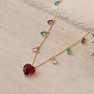 Brinco ear cuff dourado com cristais coloridos