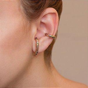 Brinco ear hook dourado cristais coloridos