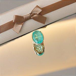 Anel dourado cristal turmalina fusion