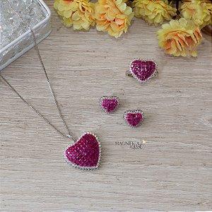 Brinco de coração cristal rosa fusion e zircônias cristais no ródio branco