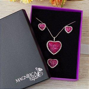 Anel de coração com cristal rosa fusion ródio branco