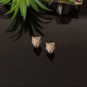 Brinco tigre dourado cravejado em zircônias cristais