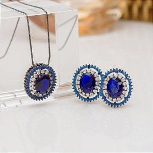 Conjunto de brinco e colar ródio negro cristal azul bic e detalhes no cristal transparente