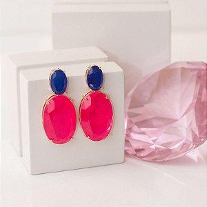 Brinco dourado cristal cereja pink e azul royal fusion