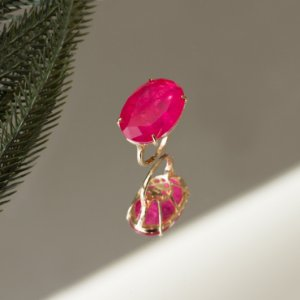 Anel dourado com cristal pink fusion