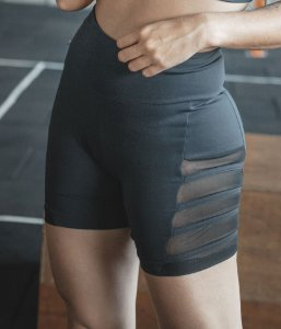 Short Fitness Cós Alto Viés e Tule