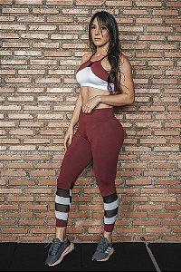Conjunto Fitness Cintura Alta Vinho e Branco
