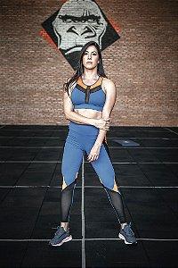 Conjunto Fitness Cintura Alta Azul e Laranja