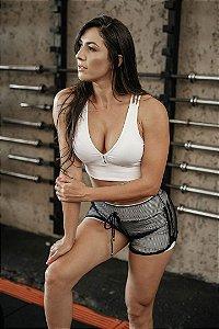 Conjunto Fitness Short Cós Alto e Top Bojo Strappy