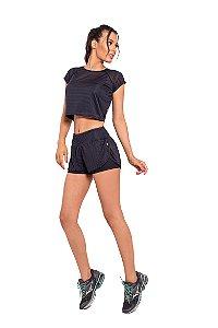 Conjunto Fitness Cintura Alta Short e Cropped Black