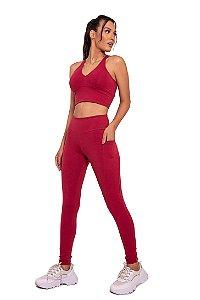 Conjunto Fitness Cintura Alta Bolso Basic
