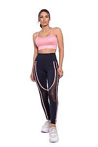 Conjunto Fitness Cintura Alta Recortes Vies