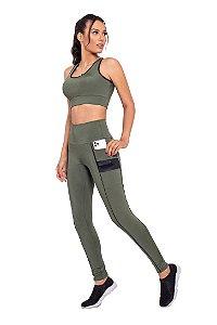 Conjunto Fitness Cintura Alta Sundance Green