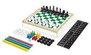Jogo 6 em 1 -  Xadrez, Damas, Trilha, Ludo, Pega-Varetas e Dominó