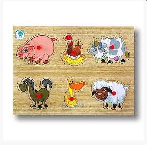 Quebra-Cabeça Pinos Animais Fazenda