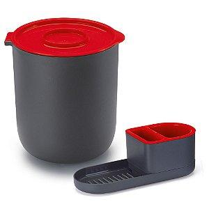 Kit Pia Dispenser Porta Detergente Sabão Bucha Lixeira 3,5 L 8326 Arthi