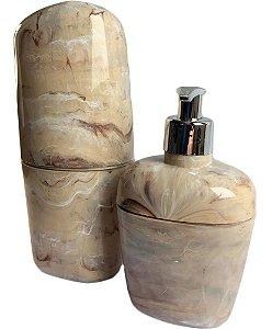 Kit Acessórios Para Banheiro Kbb1/2 Bege Marmorizado - Astra