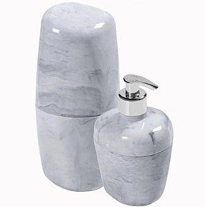 Kit Acessórios Para Banheiro Kbb1/2 Branco Marmorizado - Astra