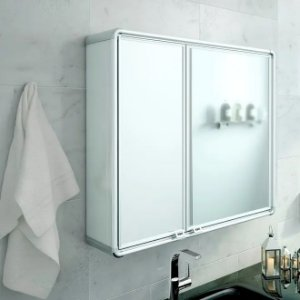 Armário Para Banheiro Astra 2 Portas Espelheira Retangular