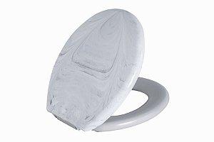Assento Sanitário Almofadado Oval TPKM Astra Branco Marmorizado
