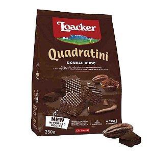 Biscoito Waffer Loacker Quadratini Double Chocolate 125g