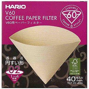Filtro De Papel Natural Para Hario V60 02 com 40 Un Original