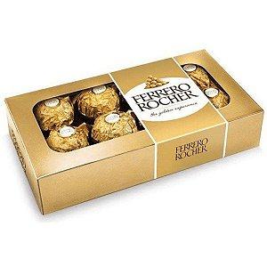 Bombom Ferrero Rocher Avelã Caixa com  8 unidades 100g