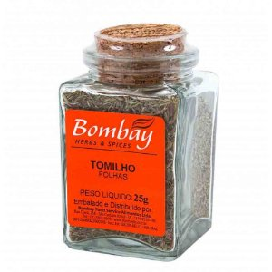Tempero Tomilho Folha Seco Bombay Vidro 25 gr