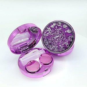 Kit Estojo(case) Luxo Zodíaco com Glitter para viagem roxo