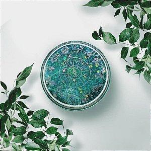 Kit Estojo(case) Luxo Zodíaco com Glitter para viagem Verde