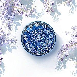 Kit Estojo(case) Luxo Zodíaco com Glitter para viagem Azul
