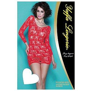 Vestido Vermelho com Manga Comprida