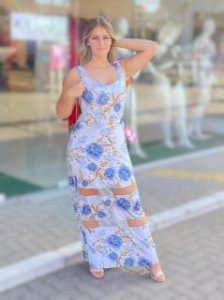 Vestido Longo Tule Azul