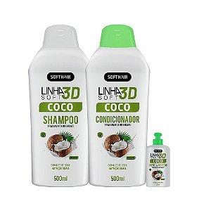 Kit Promoc. Coco Restaura Linha 3D Soft Hair (SH, cond e creme de pentear)