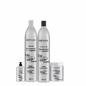 kit Reconstrutor Lisa Soft Hair (SH 280ml, Cond 280ml  Máscara 520g e creme de pentear 280ml)