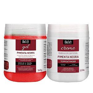 Gel Pimenta Negra 360g + Creme Pimenta Negra 320g Biosoft