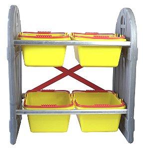 Organizador de Brinquedos Infantil Amarelo 4 Cestos Freso
