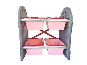 Organizador de Brinquedos Infantil Rosa 4 Cestos Freso