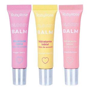 Hidratante Labial Glossy Balm Ruby Rose HB-8222 3 Unidades