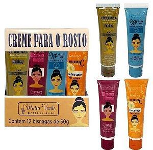 Máscara Facial Vitamina C  / Dubbay / Chá Verde / Rosa Mosqueta Matto Verde - Display com 12 Unidades