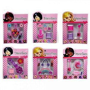 Estojo de Maquiagem Infantil Disco Teen HB86503 - Kit com 6 unidades sortidas