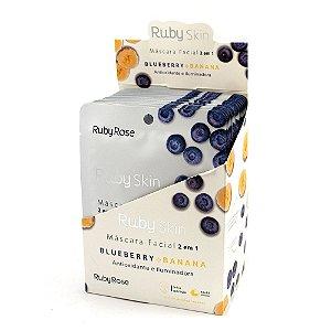 Mascara Facial de Tecido Blueberry e Banana Ruby Rose - 24 Unidades