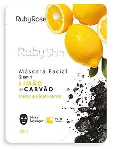 Mascara Facial de Tecido Limão + Carvão  Ruby Rose - Unidade