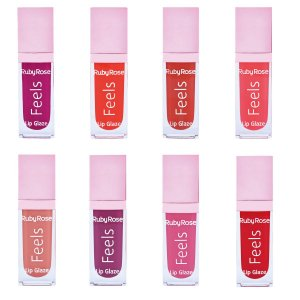 Lip Glaze Gloss Feels Novidade Ruby Rose - 8 Unidades