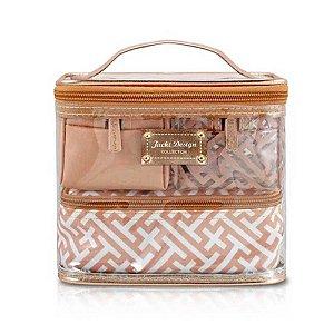 Kit de Necessaire c/ 4 peças Dourada - Jacki Design Coleção Diamantes