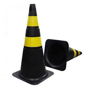 Cone de Sinalização Preto e Amarelo