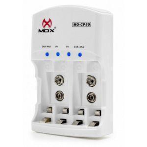 Carregador p/ 4 Pilhas AA, AAA ou 2 Baterias 9V MOX-CP50