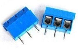 Conector Borne KRE - 3 Terminais Azul (passo 5.08mm)