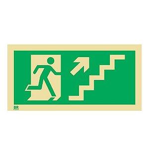Placa Escada Sobe Direita S11 12X24cm Fotoluminescente
